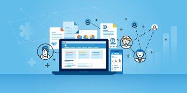Flat line design website banner of health plan management solutions