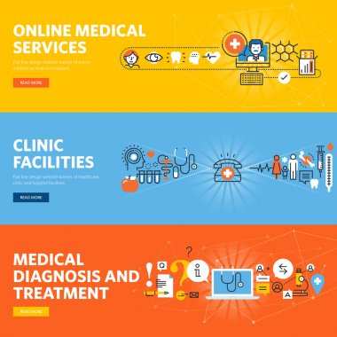 Set of flat line design web banners for online medical diagnosis and treatment, online services, hospital and clinic facilities