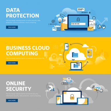 Set of flat line design web banners for data protection, internet security, antivirus software and services, business cloud computing