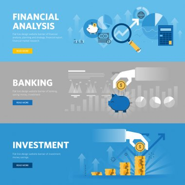 Set of flat line design web banners for banking and finance, investment, market research, financial analysis, savings
