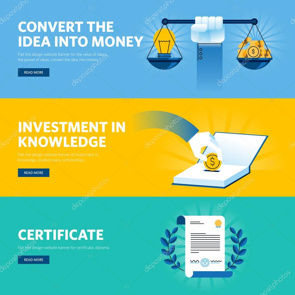 Set of flat line design web banners for investment in knowledge ...