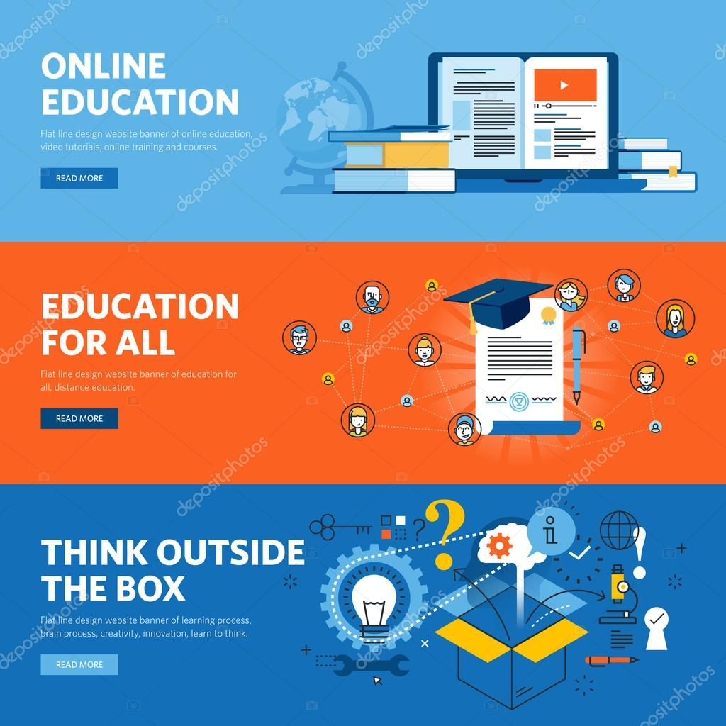 Set Of Flat Line Design Web Banners For Online Education Stock Vector C Variant 105323488