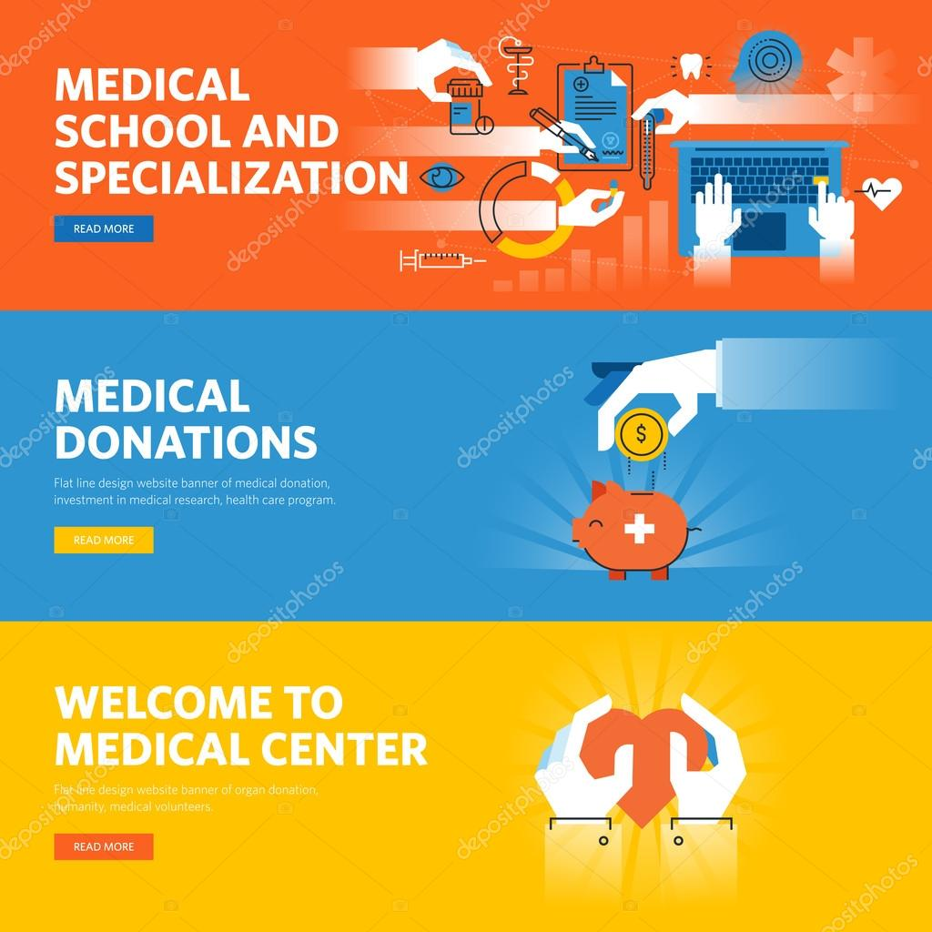 Set of flat line design web banners for online medical education, medical donations, medical center information and facilities