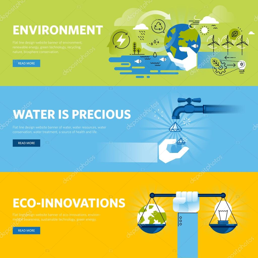 Set of flat line design web banners for environment, renewable energy, green technology, ecology