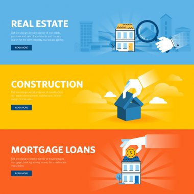 Set of flat line design web banners for real estate, construction, architecture and interior design, mortgage loans