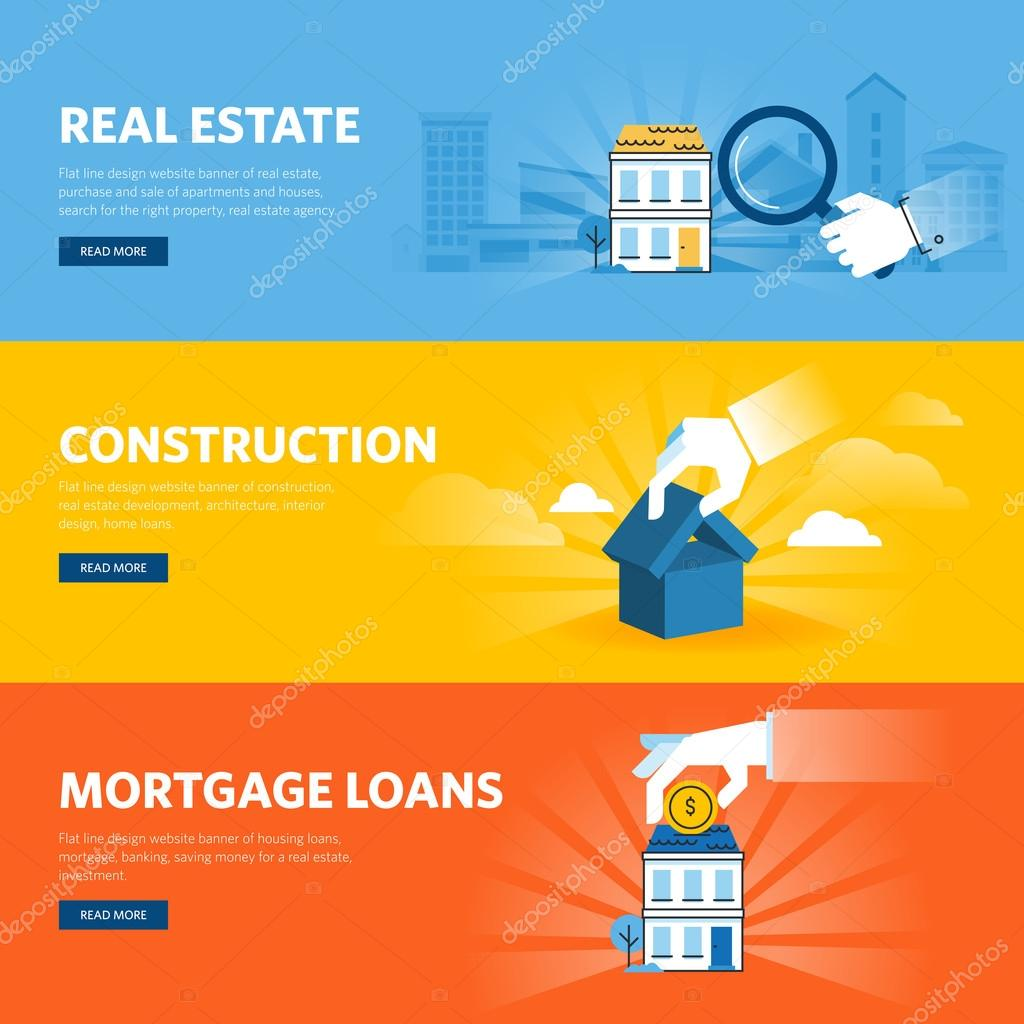 Real Estate Banners Design Set Of Flat Line Design Web Banners For Real Estate Construction Architecture And Interior Design Mortgage Loans Stock Vector C Variant 105356858