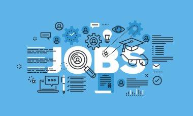 Modern thin line design concept for JOBS website banner