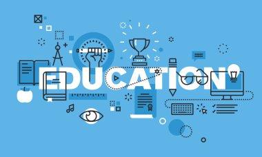 Modern thin line design concept for EDUCATION website banner