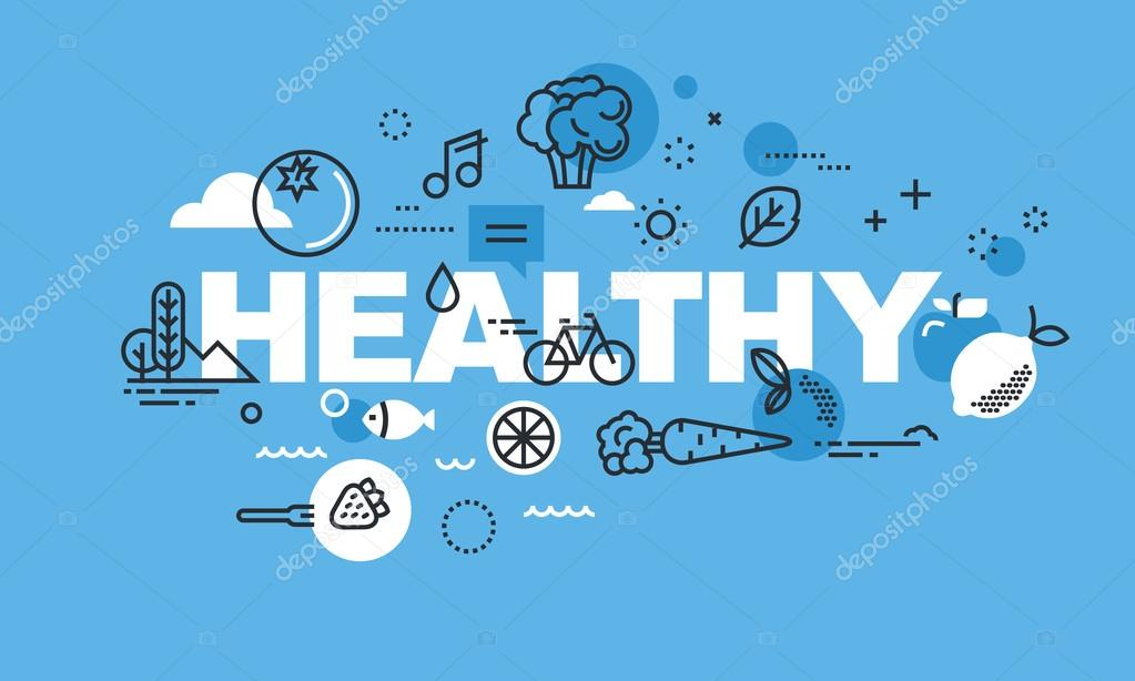 Modern thin line design concept for HEALTHY website bannerflat, line, design, web, sign, symbol, thin, illustration, icon, vector, object, background, abstract, banner, website, business, marketing, technology, mobile, computer, internet, network, wo