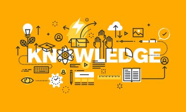 Thin line flat design banner for KNOWLEDGE web page