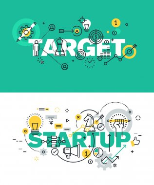 Set of modern vector illustration concepts of words target and startup
