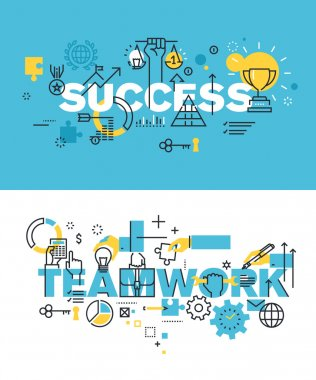 Set of modern vector illustration concepts of words success and teamwork