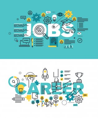 Set of modern vector illustration concepts of words jobs and career