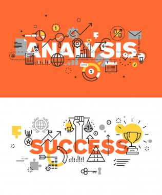 Set of modern vector illustration concepts of words analysis and success