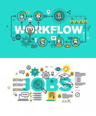 Set of modern vector illustration concepts of words workflow and jobs