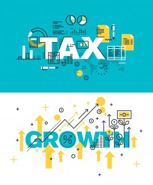 Set of modern vector illustration concepts of words tax and growth