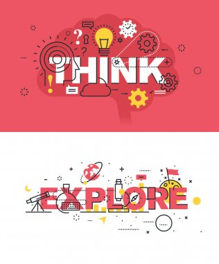 Set of modern vector illustration concepts of words think and explore