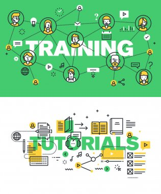 Set of modern vector illustration concepts of words training and tutorials