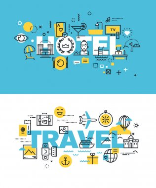 Set of modern vector illustration concepts of words hotel and travel