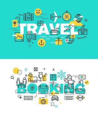 Set of modern vector illustration concepts of words travel and booking