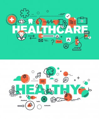 Set of modern vector illustration concepts of words healthcare and healthy