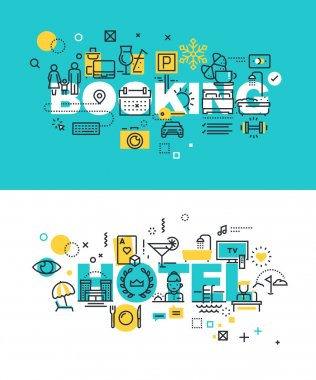 Set of modern vector illustration concepts of words booking and hotel