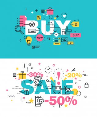 Set of modern vector illustration concepts of words buy and sale