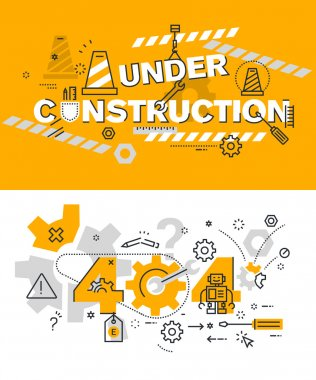 Set of modern vector illustration concepts of terms under construction and 404