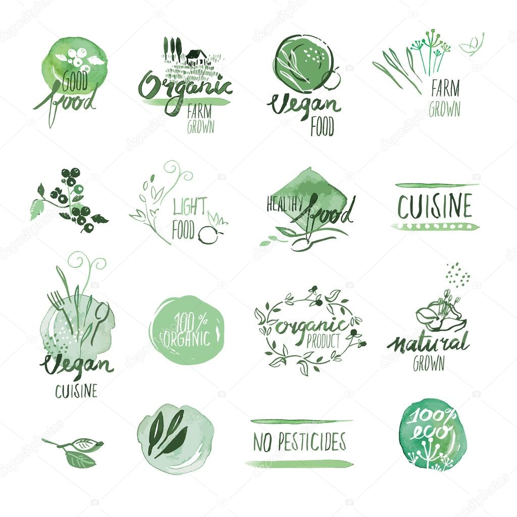 Set of organic food hand drawn watercolor labels and badges