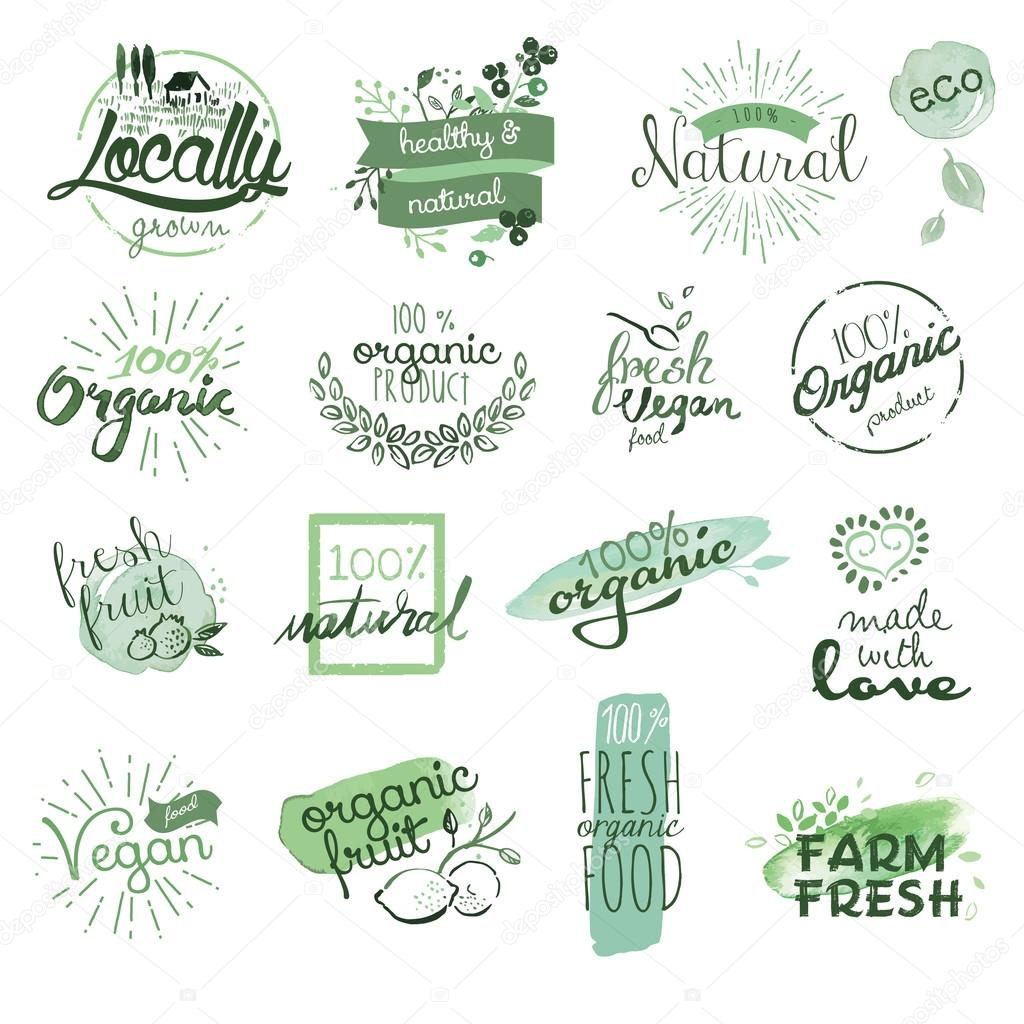 Organic food badges and elements