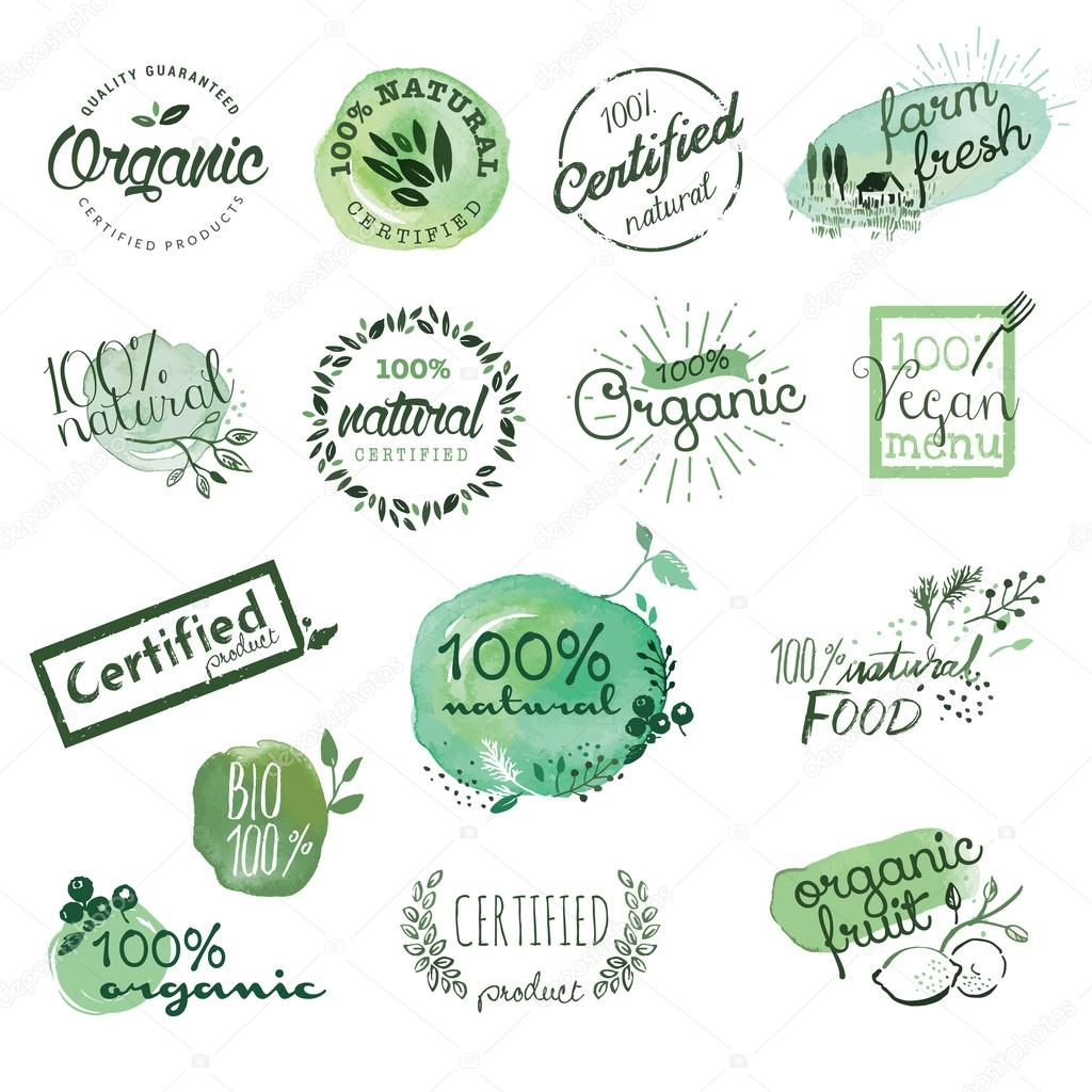 Organic food stickers and elements
