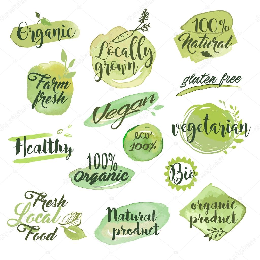 Hand drawn watercolor labels and badges for organic food, restaurant and natural products