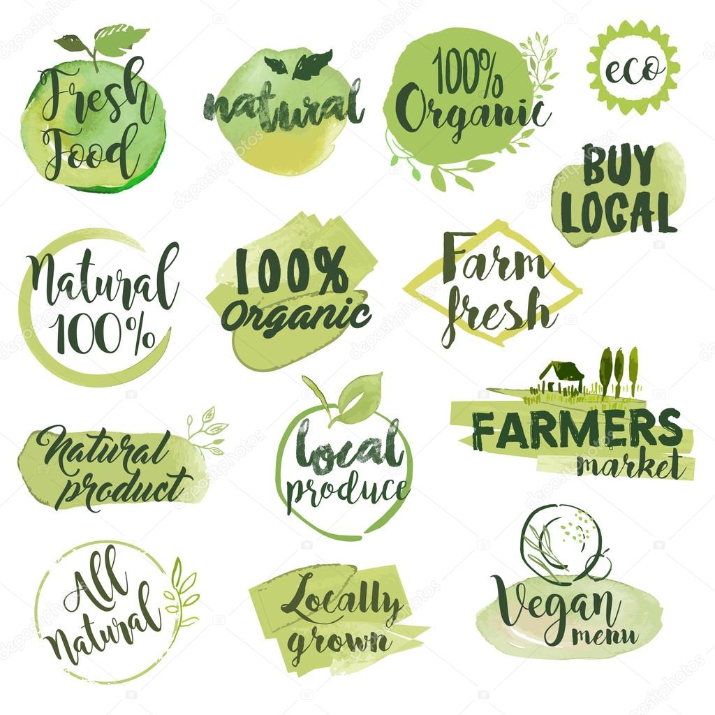 Hand drawn watercolor stickers and badges for organic food, restaurant and natural products