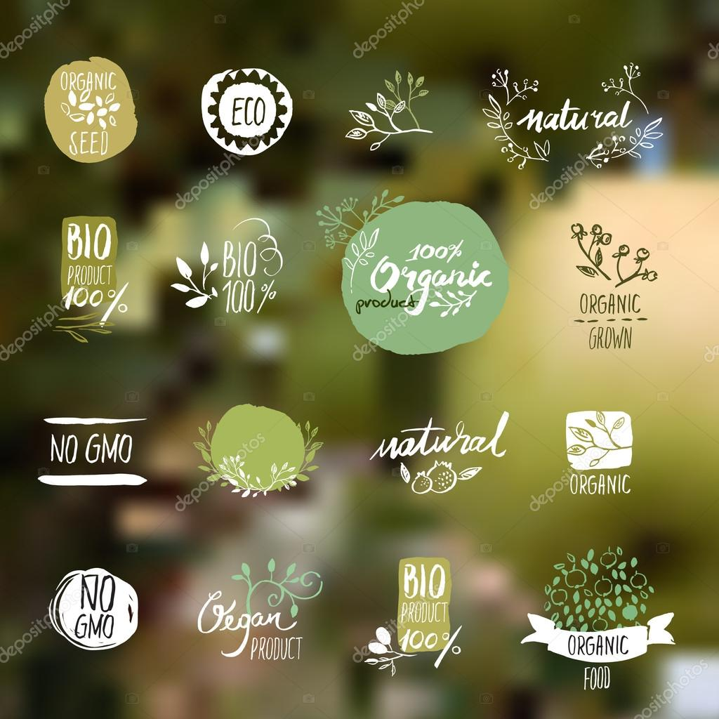 Set of hand drawn style badges and elements for organic food and drink