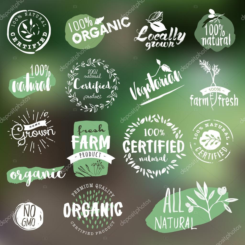 Hand drawn labels and badges collection for organic food and drink