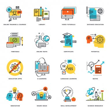 Set of flat line design icons of online education and e-learning