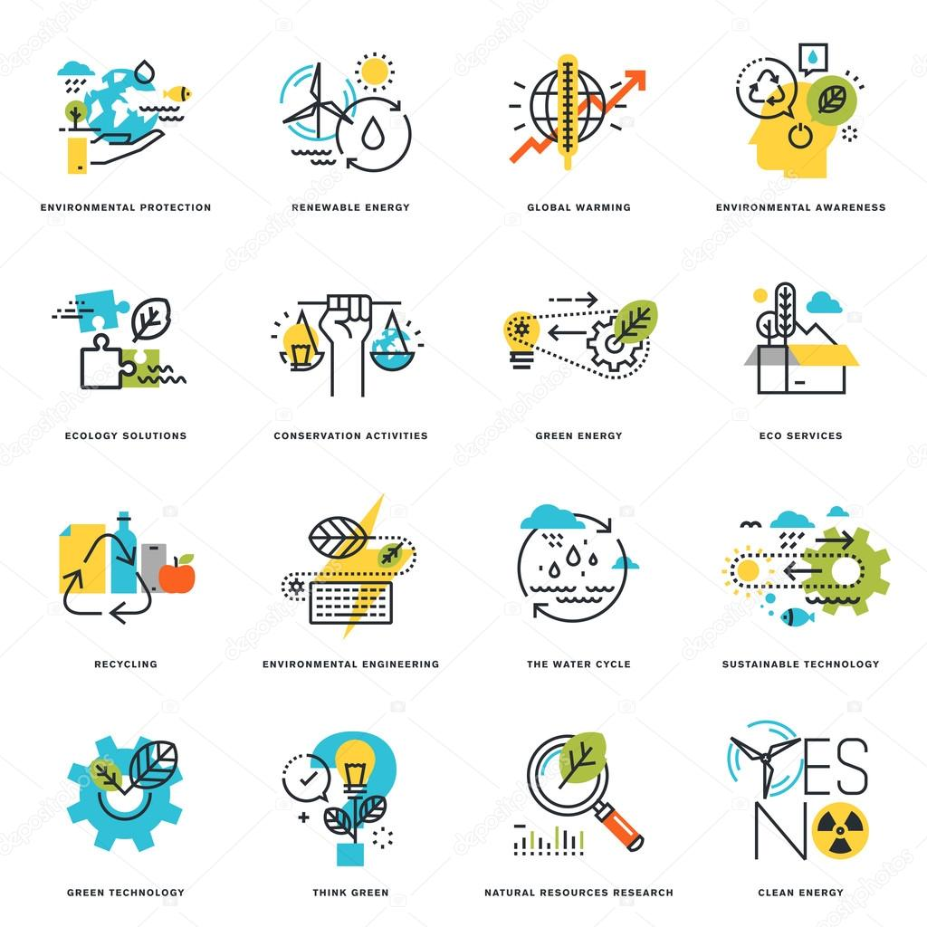 Set of flat line design icons of nature, ecology, green technology and recycling