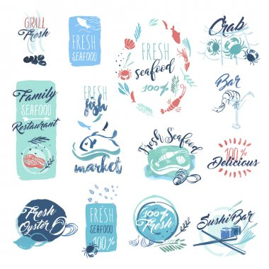 Set of hand drawn watercolor badges and stickers of seafood