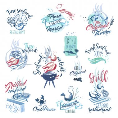 Set of hand drawn watercolor signs and stickers of seafood