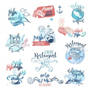 Set of hand drawn watercolor labels and signs of seafood