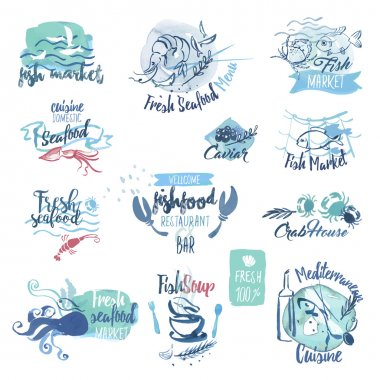 Set of hand drawn watercolor labels and elements of seafood