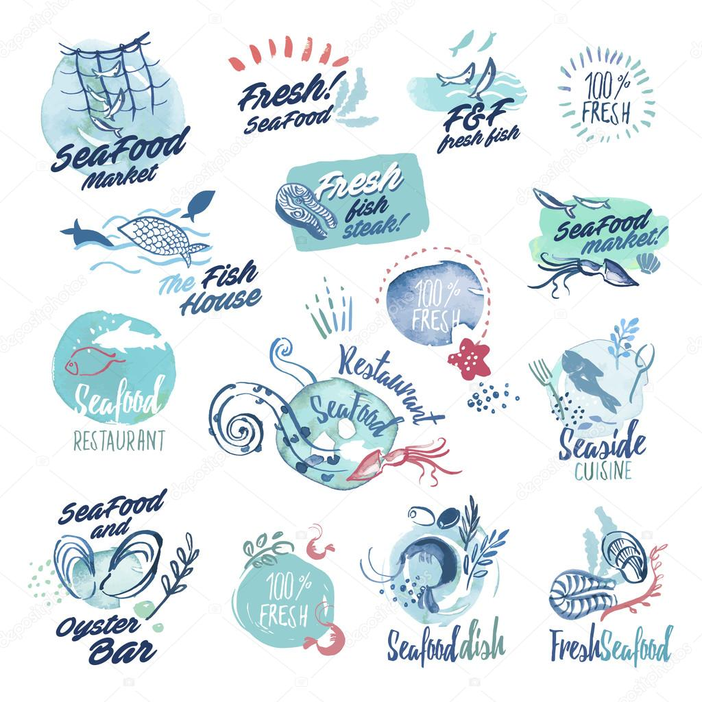 Set of hand drawn watercolor labels and badges of seafood