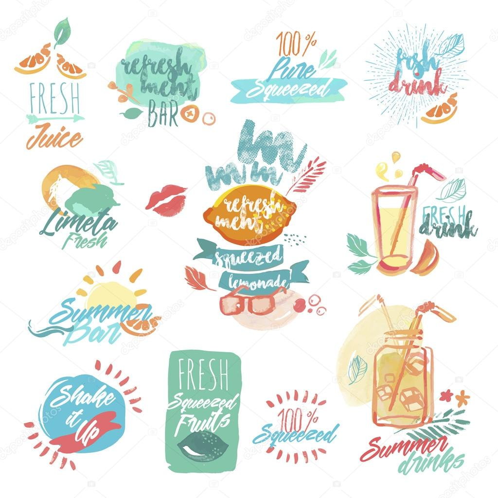 Set of hand drawn watercolor labels and signs of fresh fruit juice and drinks