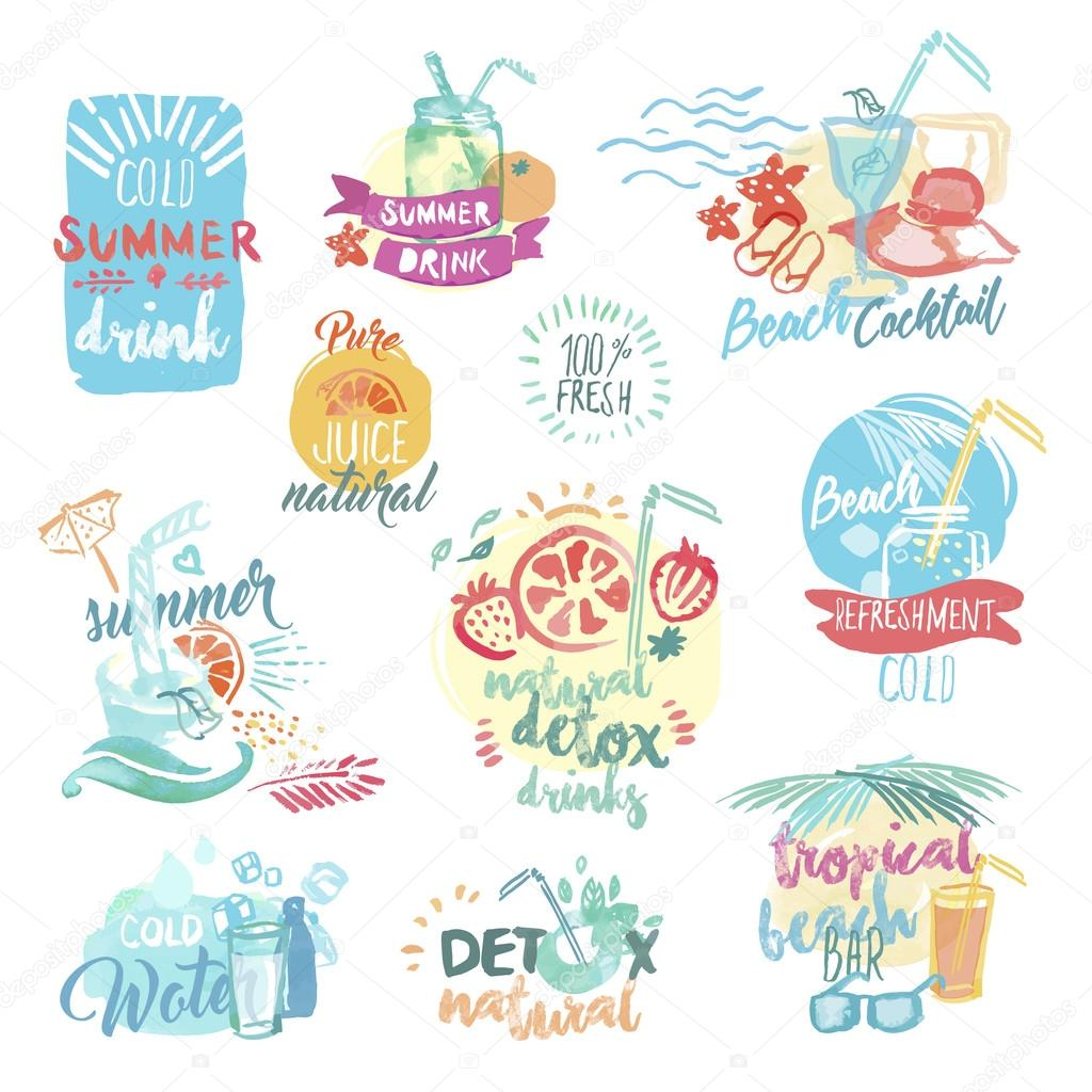 Set of hand drawn watercolor labels and badges of fresh fruit juice and drinks