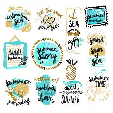 Set of hand drawn watercolor badges and stickers of summer.