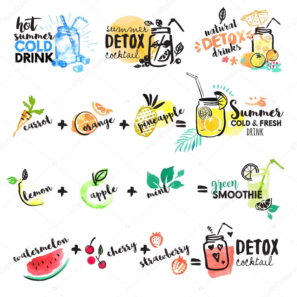Set of hand drawn watercolor signs of summer drinks, fruit juices and smoothies, cocktails