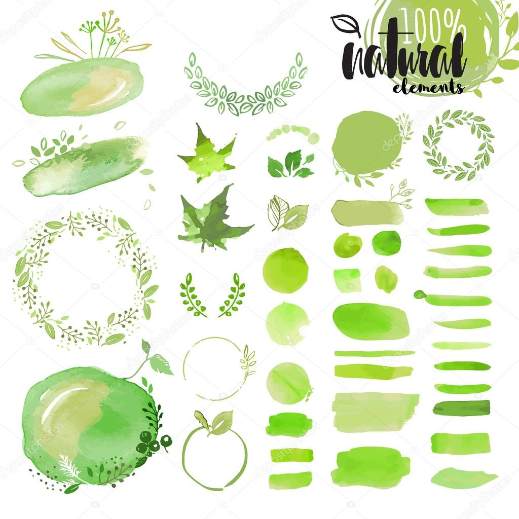 Set of hand drawn watercolor natural elements, brushes, wreathes, ribbons, frames, ornaments, pattern and background