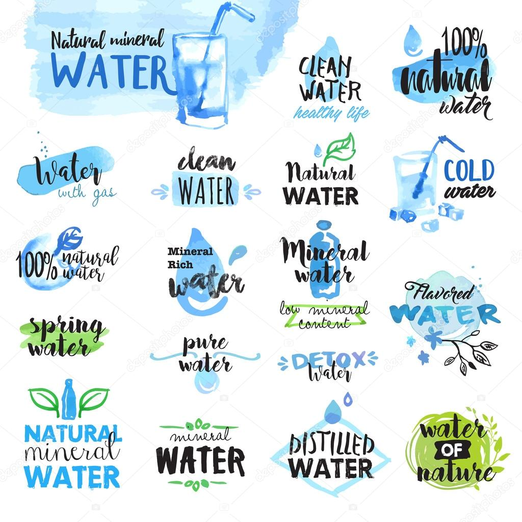 Set of hand drawn watercolor labels and badges of water
