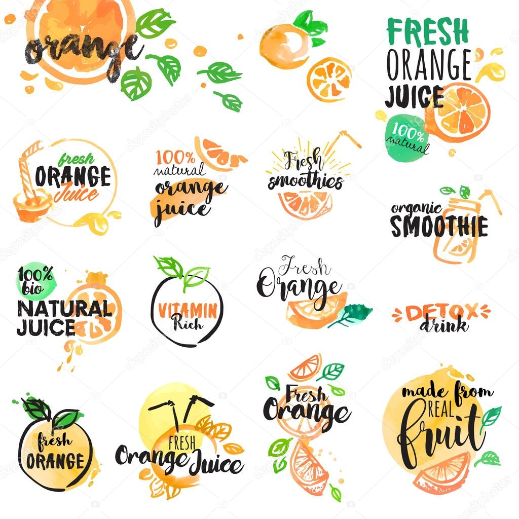 Set of hand drawn watercolor labels and signs of orange juice and smoothies