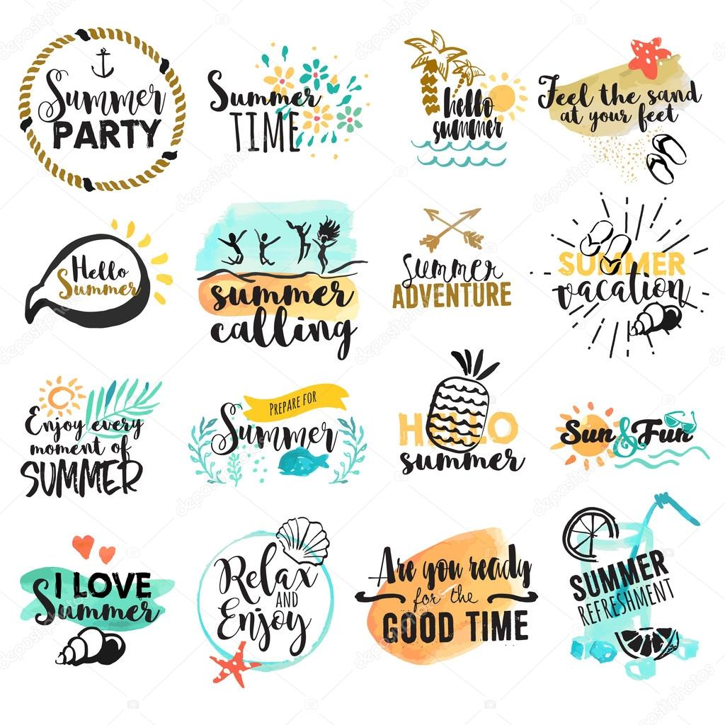 Set of hand drawn watercolor summer signs and banners